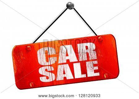 car sale, 3D rendering, vintage old red sign