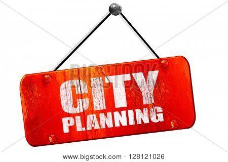 city planning, 3D rendering, vintage old red sign