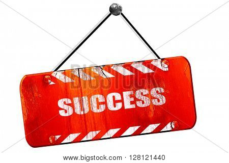 Success sign with smooth lines, 3D rendering, vintage old red si