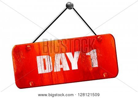 day 1, 3D rendering, vintage old red sign