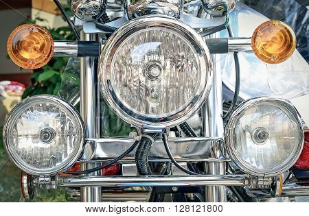 Headlights of the motorcycle, Selective focus and close up