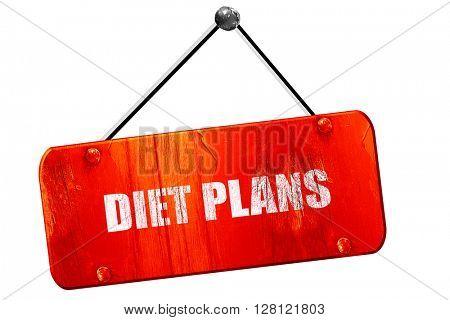 diet plans, 3D rendering, vintage old red sign