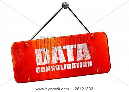 data consolidation, 3D rendering, vintage old red sign