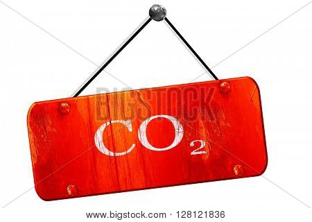 CO2 warning sign, 3D rendering, vintage old red sign