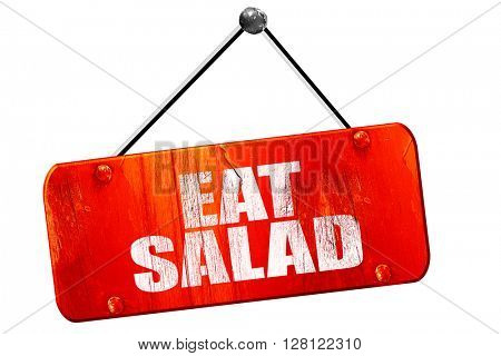 eat salad, 3D rendering, vintage old red sign