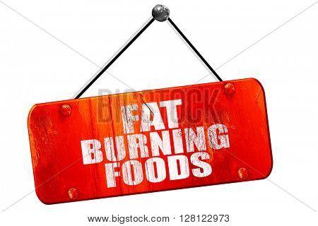 fat burning foods, 3D rendering, vintage old red sign