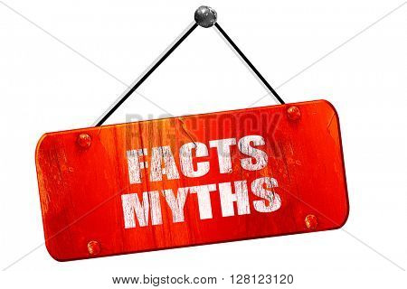 facts myths, 3D rendering, vintage old red sign
