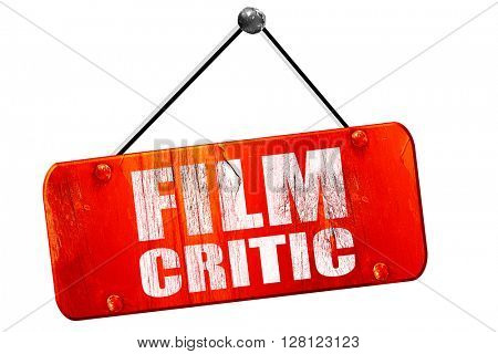 film critic, 3D rendering, vintage old red sign