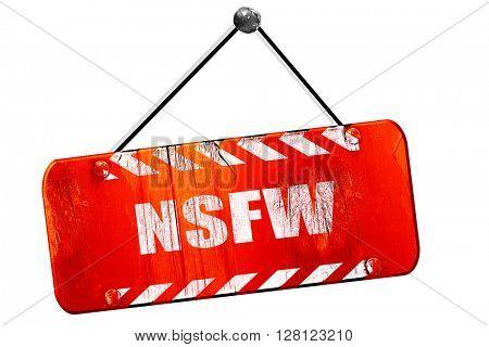 Not safe for work sign, 3D rendering, vintage old red sign
