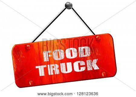 food truck, 3D rendering, vintage old red sign