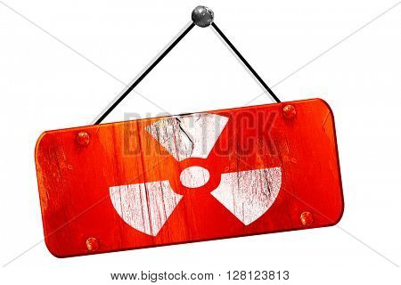 Nuclear danger , 3D rendering, vintage old red sign