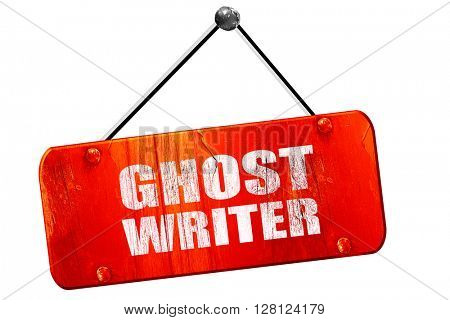 ghost writer, 3D rendering, vintage old red sign