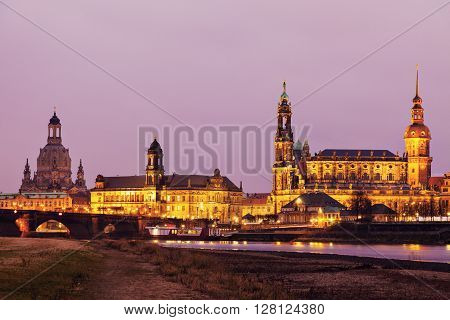 Panorama of Dresden at sunrise. Dresden Saxony Germany.