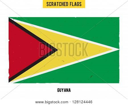 Guyanese grunge flag with little scratches on surface. A hand drawn scratched flag of Gayana with a easy grunge texture. Vector modern flat design.