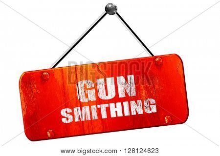 gun smithing, 3D rendering, vintage old red sign