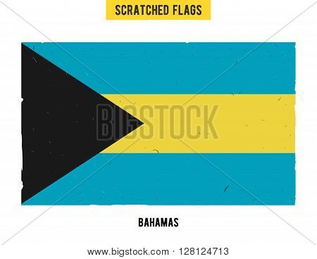 Bahamian grunge flag with little scratches on surface. A hand drawn scratched flag of Bahamas with a easy grunge texture. Vector modern flat design.