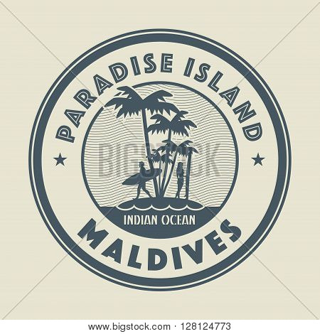 Stamp with the palm island and words Paradise Island, Maldives, written inside vector illustration