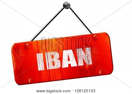 IBAN, 3D rendering, vintage old red sign