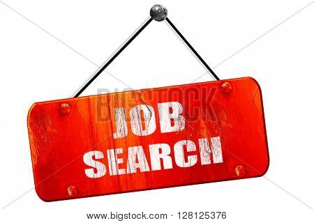 job search, 3D rendering, vintage old red sign