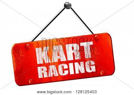 kart racing, 3D rendering, vintage old red sign