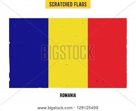 Romanian grunge flag with little scratches on surface. A hand drawn scratched flag of Romania with a easy grunge texture. Vector modern flat design.