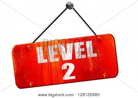 level 2, 3D rendering, vintage old red sign