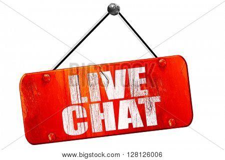 live chat, 3D rendering, vintage old red sign