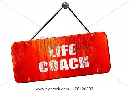 life coach, 3D rendering, vintage old red sign