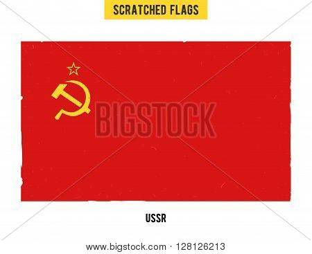 Soviet grunge flag with little scratches on surface. A hand drawn scratched flag of USSR with a easy grunge texture. Vector modern flat design.