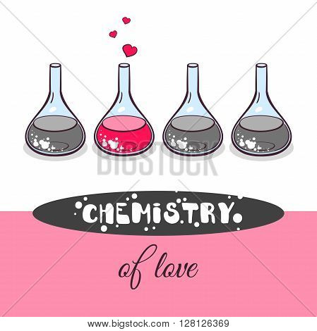 Hand drawn beakers with hearts on white background. Chemistry of love. Vector illustration.