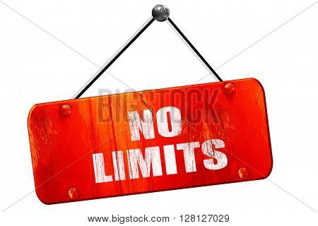 no limits, 3D rendering, vintage old red sign