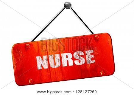 nurse, 3D rendering, vintage old red sign