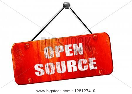 open source, 3D rendering, vintage old red sign