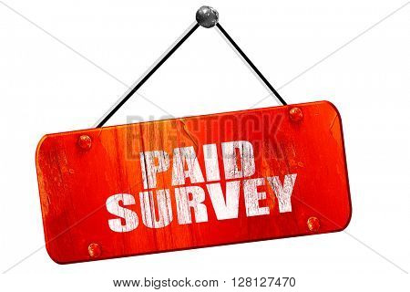 paid survey, 3D rendering, vintage old red sign