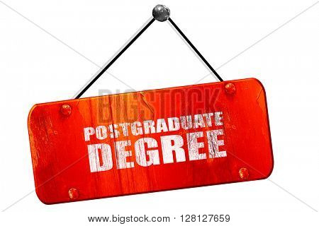 postgraduate degree, 3D rendering, vintage old red sign