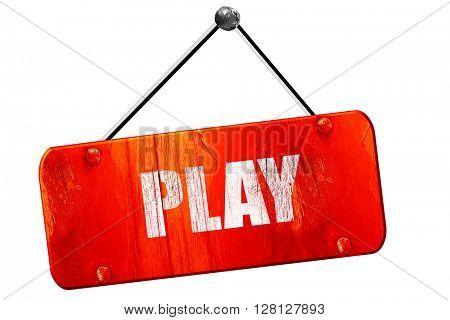 play, 3D rendering, vintage old red sign