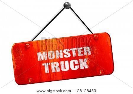 monster truck sign , 3D rendering, vintage old red sign