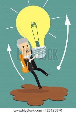 Businessman holds flying light bulb to get away from quicksand.Business concept cartoon vector illustration.