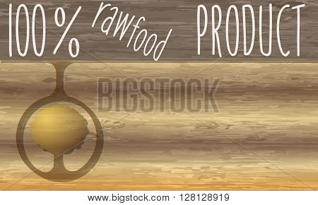Raw food product headline and wooden background