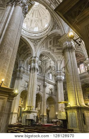 JAEN SPAIN - may 2016 2: Inside view of the Cathedral, Columns of Corinthian style and fustes striated with batons at various heights, Jaen, Spain