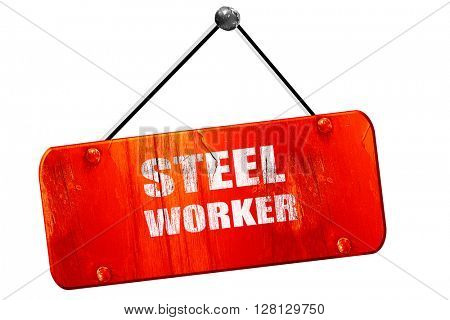 Steel  with smooth lines, 3D rendering, vintage old red sign