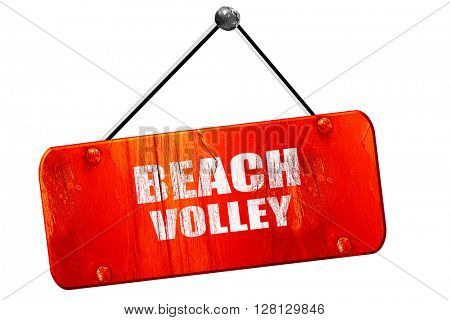 beach volley sign, 3D rendering, vintage old red sign
