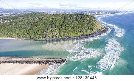 Aerial view of Burleigh Headland National Park surrounds and Tallebudgera beach. Gold Coast, Australia