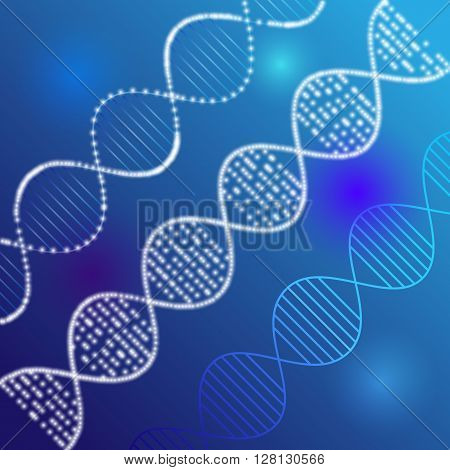 Vector clipart of shining DNA chain. Luminous DNA on the lighting background.