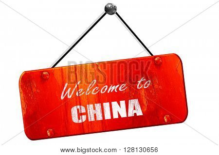 Welcome to china, 3D rendering, vintage old red sign