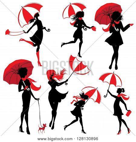 Set of girls silhouettes with umbrellas isolated on white background autumn season