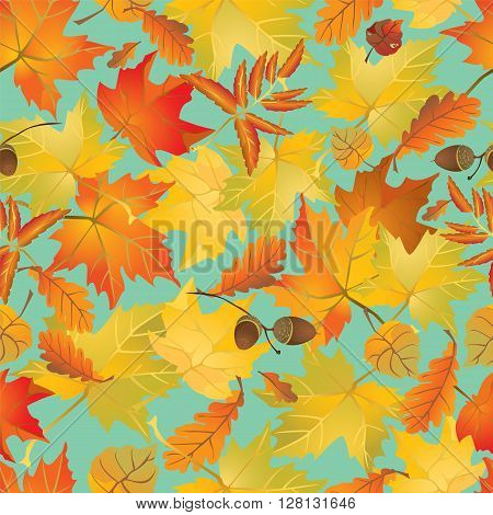 Seamless pattern with red and yellow autumn leaves. Fall season background