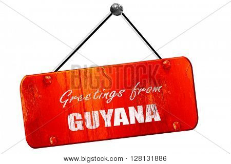Greetings from guyana, 3D rendering, vintage old red sign