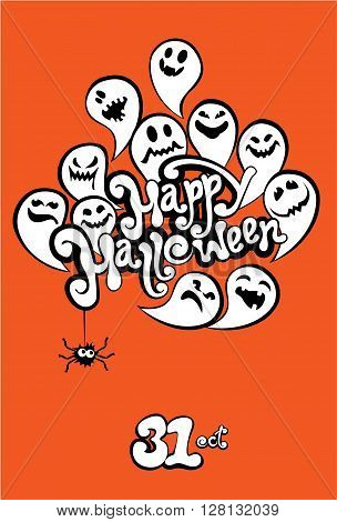Happy Halloween Card with funny ghost. Invitation to party