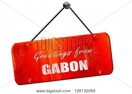 Greetings from gabon, 3D rendering, vintage old red sign